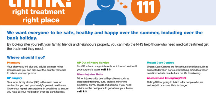 Get the Right Care this August bank holiday