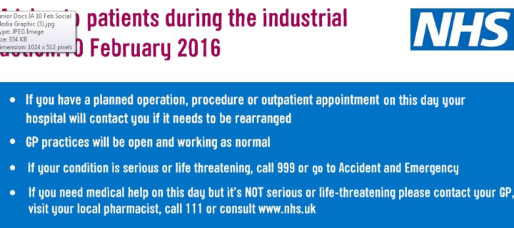 Advice to patients during industrial action 10 February 2016
