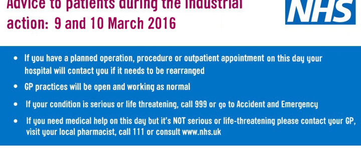 Advice to patients during industrial action 9 and 10 March 2016