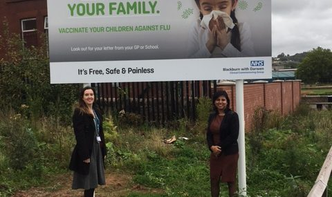 "Campaign launched by the <span class=""caps"">NHS</span> in Blackburn with Darwen to protect families against flu"