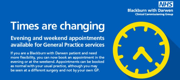 Reminder that evening and weekend GP appointments available