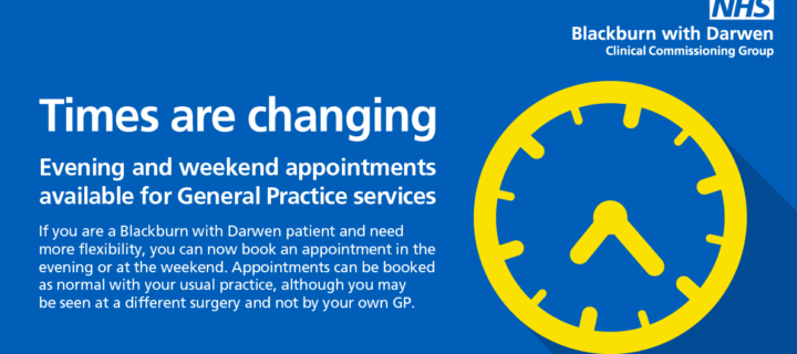 Evening and weekend GP appointments available