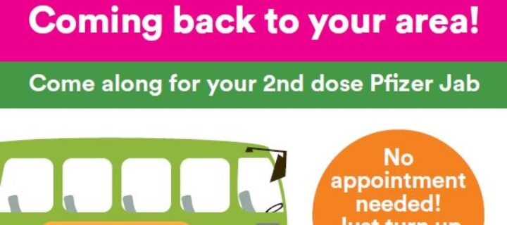Get on board the mobile Covid-19 vaccine bus in Pennine for your second dose