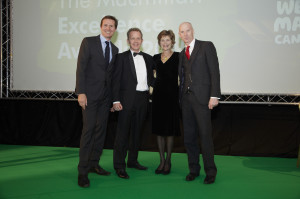 Left to right:  Olympic Athlete, Roger Black, Dr Neil Smith, Lady Camilla Halifax (Macmillan President) and Jez Such, Macmillan Development Manager, Macmillan Cancer Support